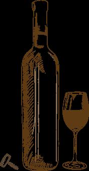 Weinflasche gezeichnet